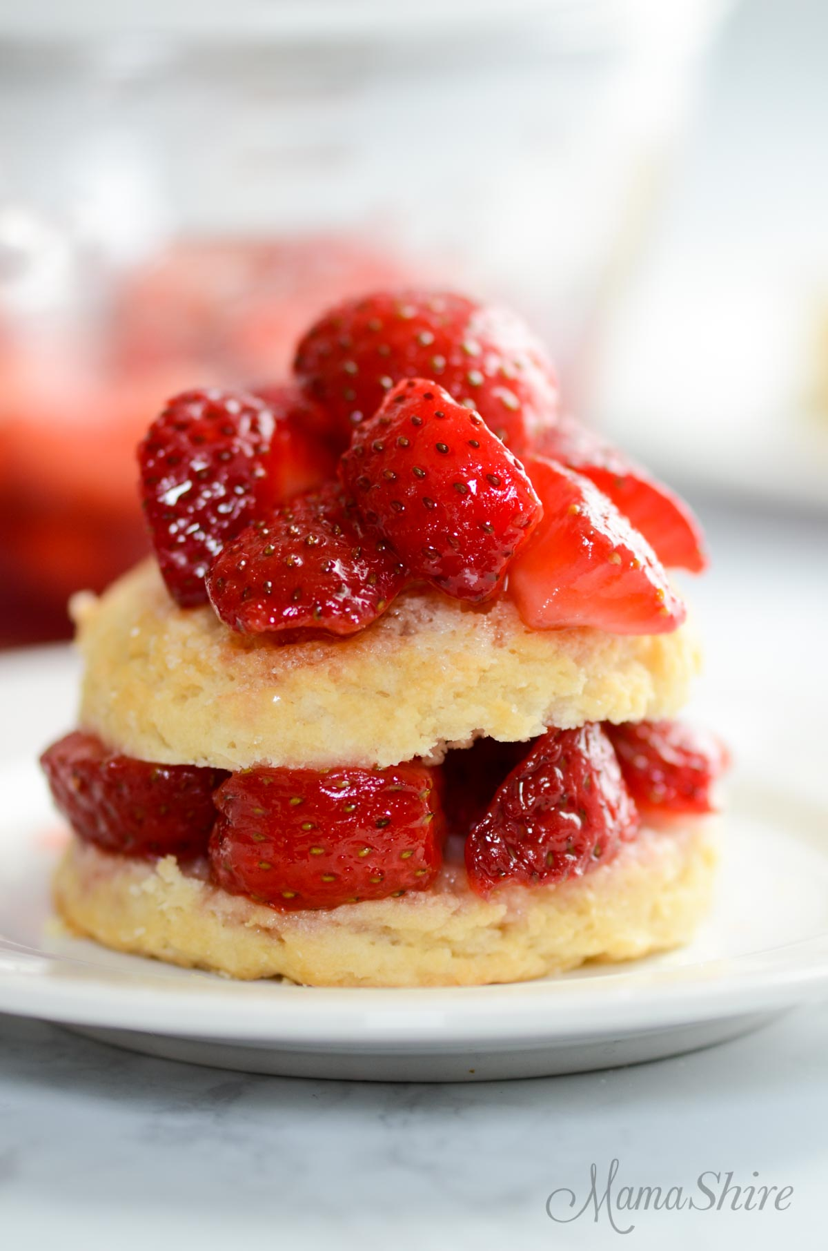 Strawberry Shortcake (gluten-free & dairy-free) with strawberries only.