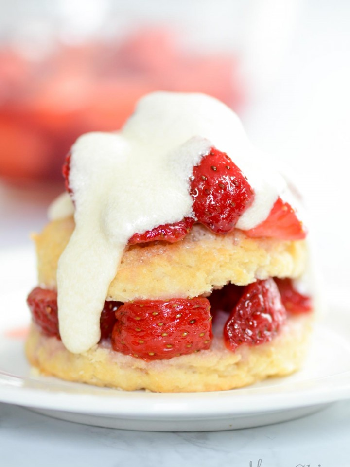 Strawberry shortcake (gluten-free & dairy-free) with icing instead of whipped cream.
