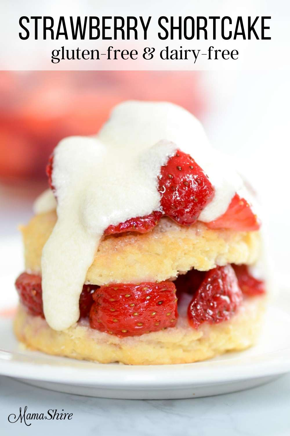 Strawberry Shortcake (gluten-free & dairy-free) made with icing.