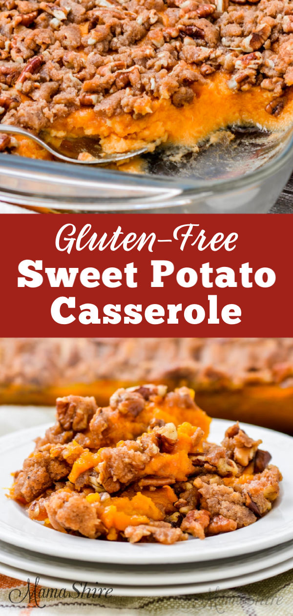Sweet potato casserole with a dairy-free buttery pecan topping.