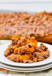A serving of gluten-free sweet potato casserole.