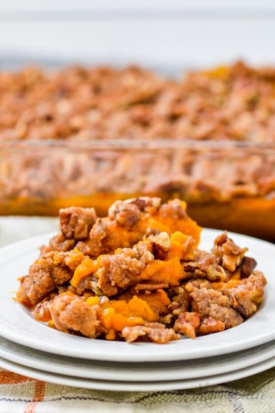 A serving of gluten-free sweet potato casserole.