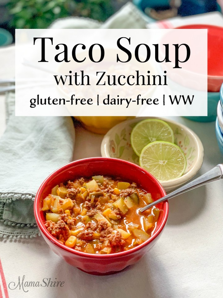 Easy to make Taco Soup with zucchini and lime.