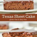 Two pictures of Texas sheet cake which is a moist chocolate cake made in one layer.