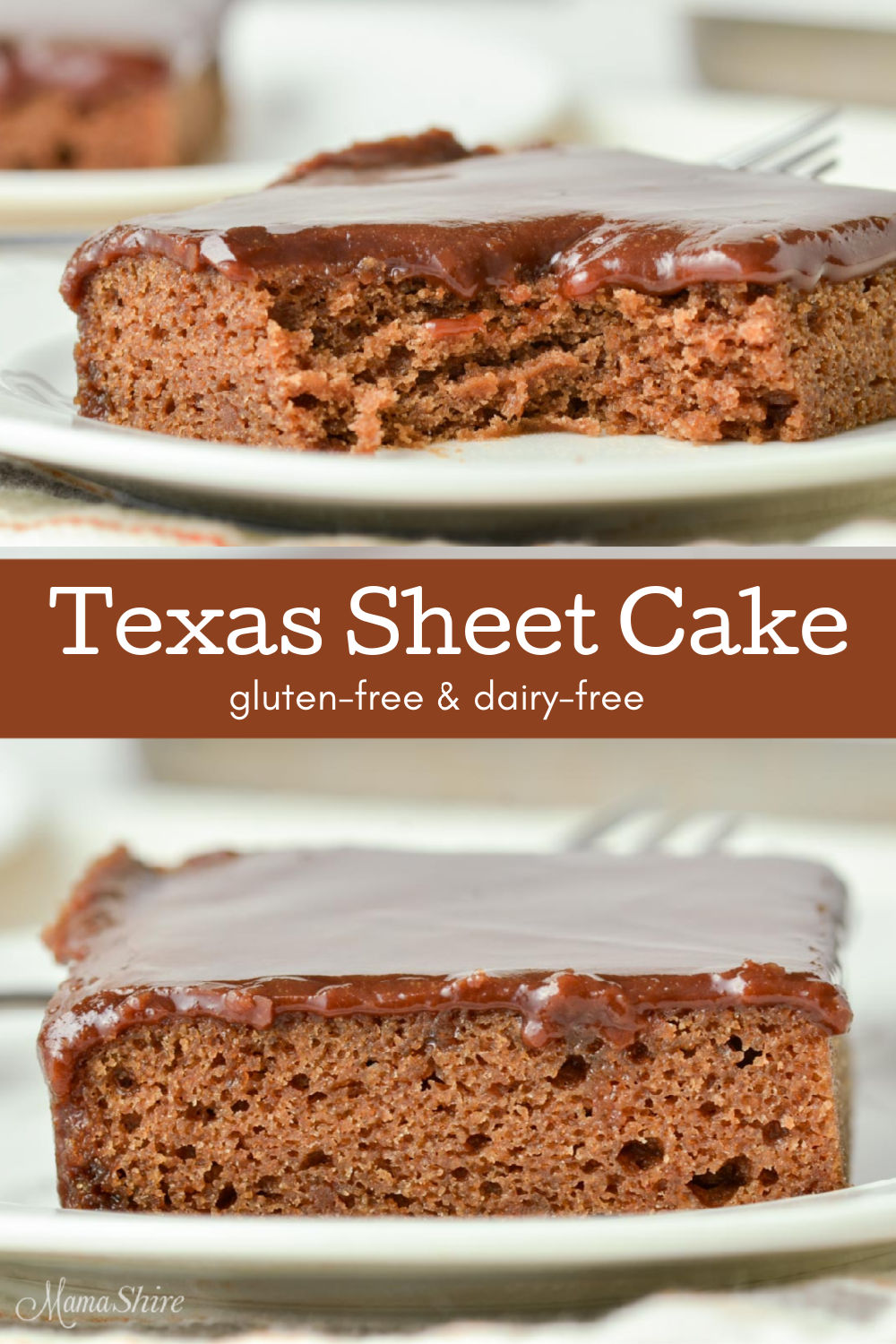 Two pictures of gluten-free Texas sheet cake the top one has a bite cut out of it.