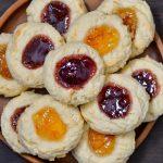 An overhead photo of gluten-free thumbprint cookies.