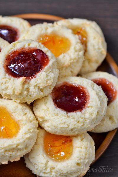 Strawberry jam and orange marmalade thumbprint cookies.