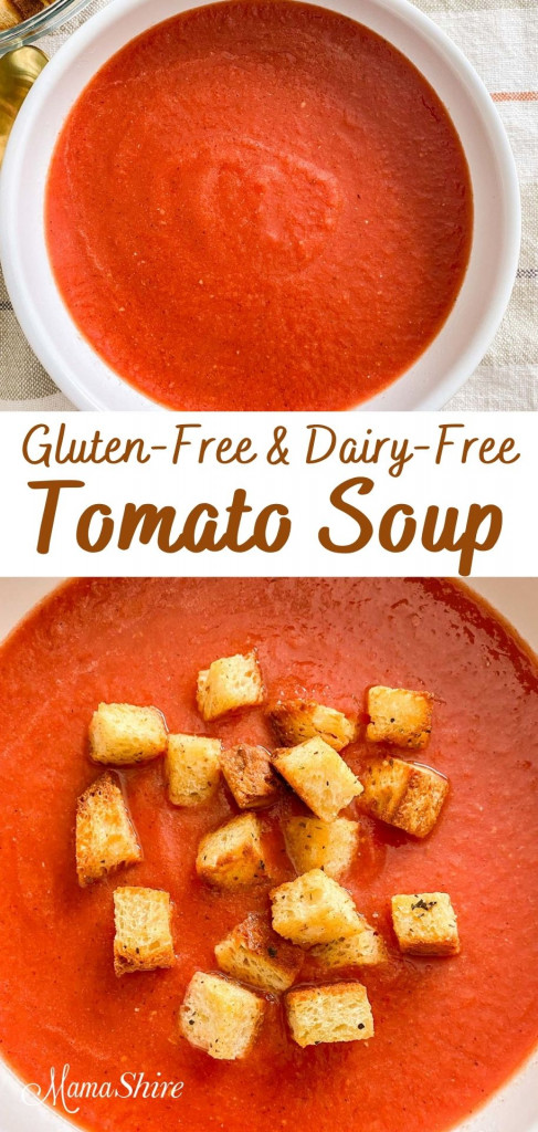 A white bowl with gluten-free and dairy-free tomato soup.