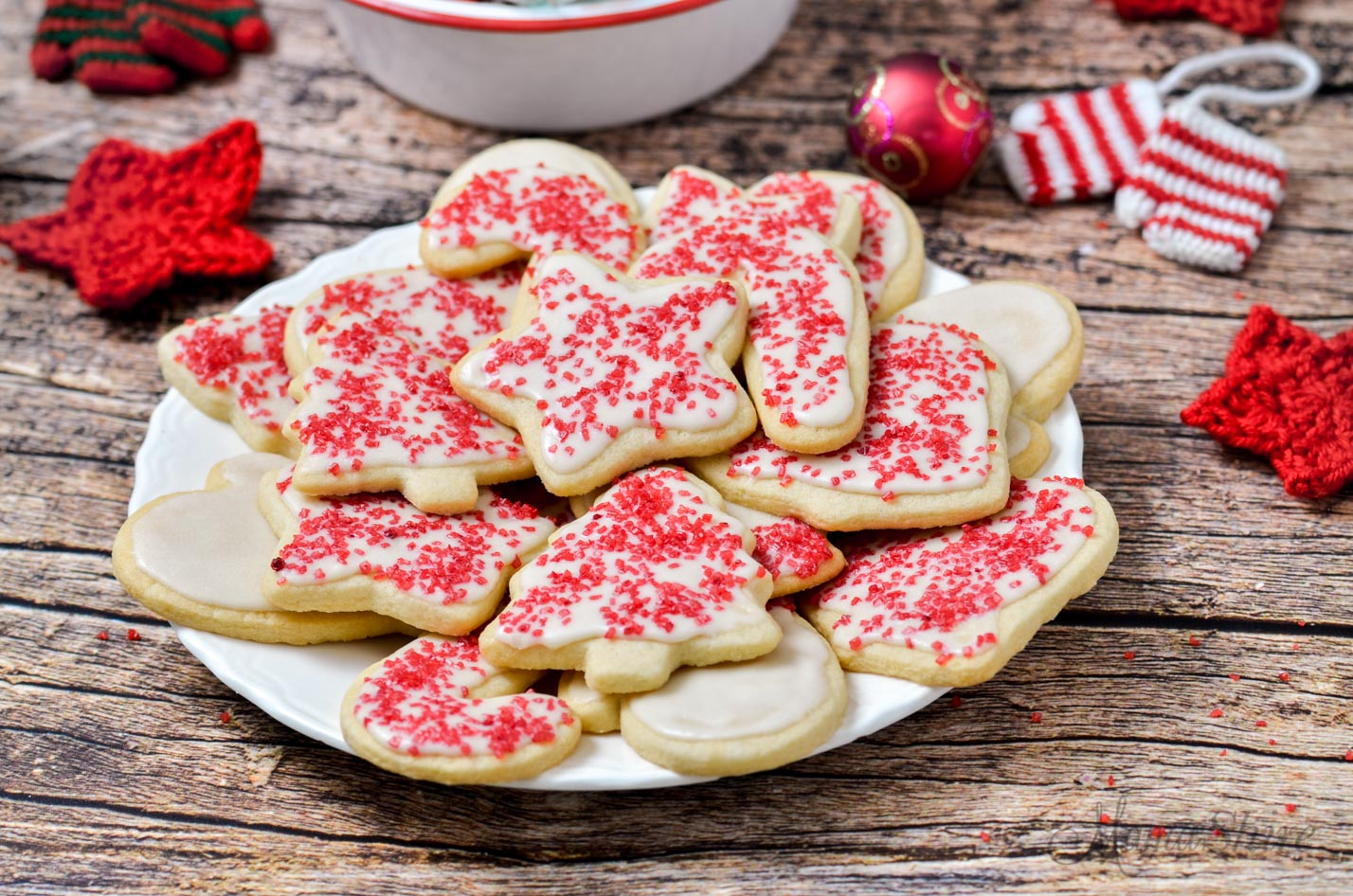 A plate of gluten-free Christmas cookies