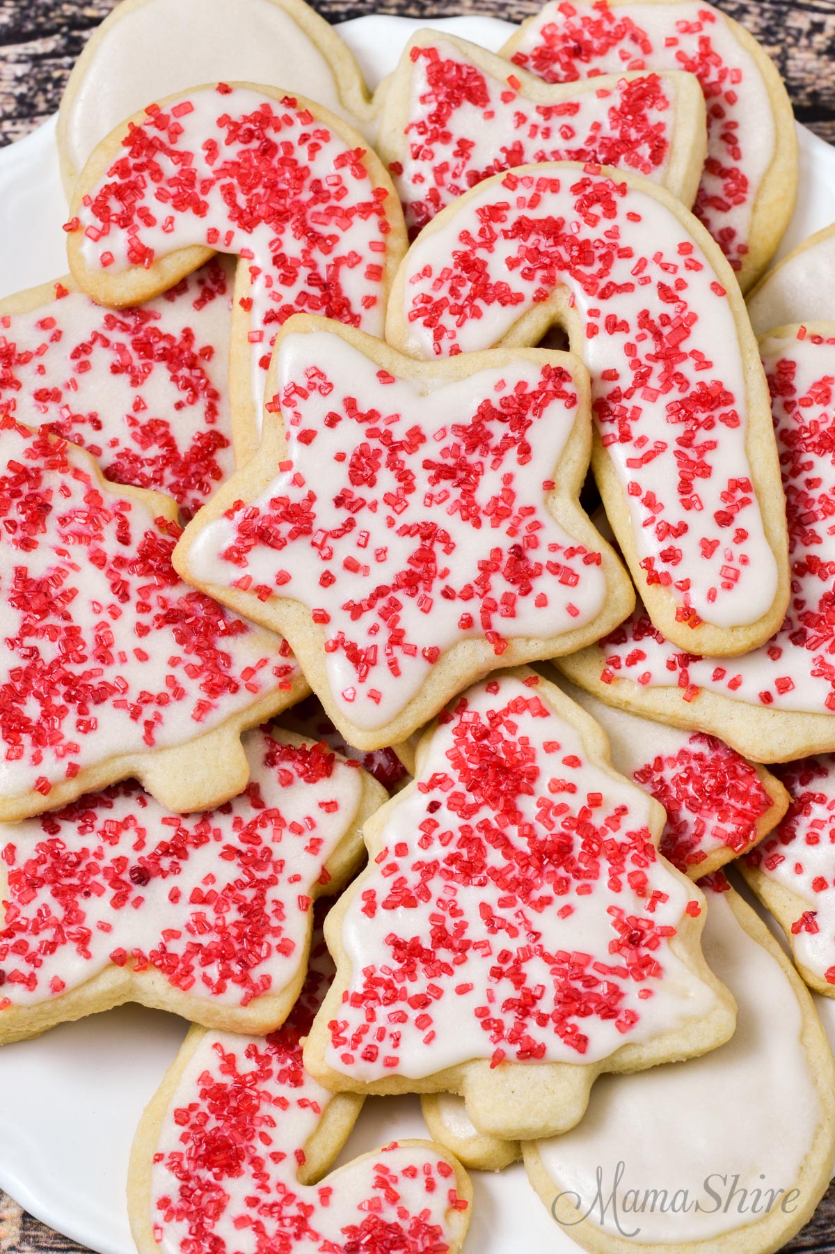 Christmas cut-out cookies made with a gluten-free vanilla sugar cookie recipe.