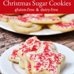 Cut-out sugar cookies with a gluten-free and dairy-free recipe.
