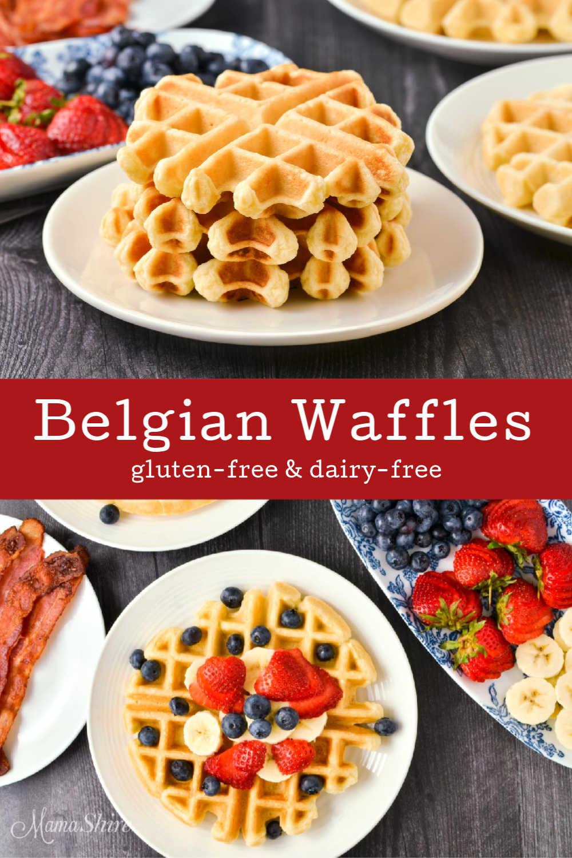 A stack of gluten-free Belgian waffles.