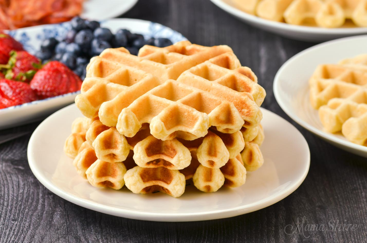 A stack of gluten-free Belgian waffles.