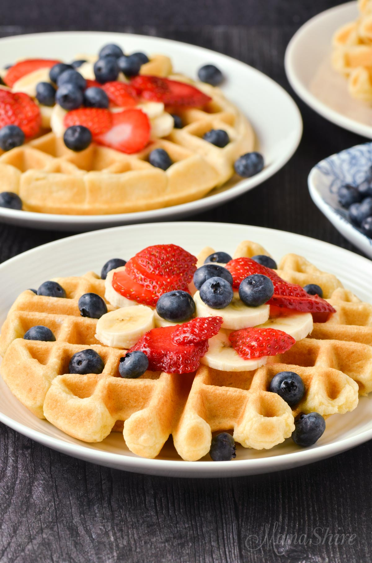 Waffles made gluten-free and dairy-free and covered with fruits.