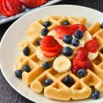 Gluten-free waffle with fruit.