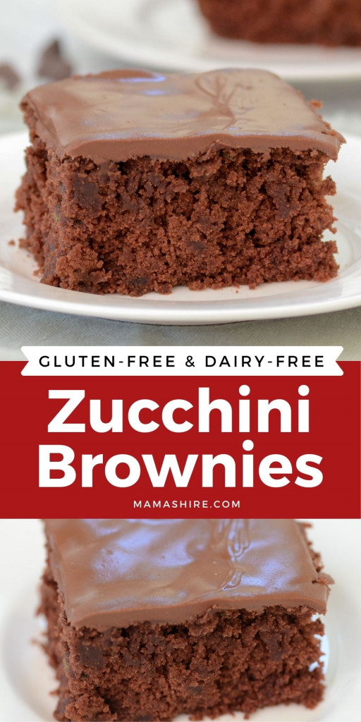 A graphic that shows two pictures of chocolate zucchini brownies.