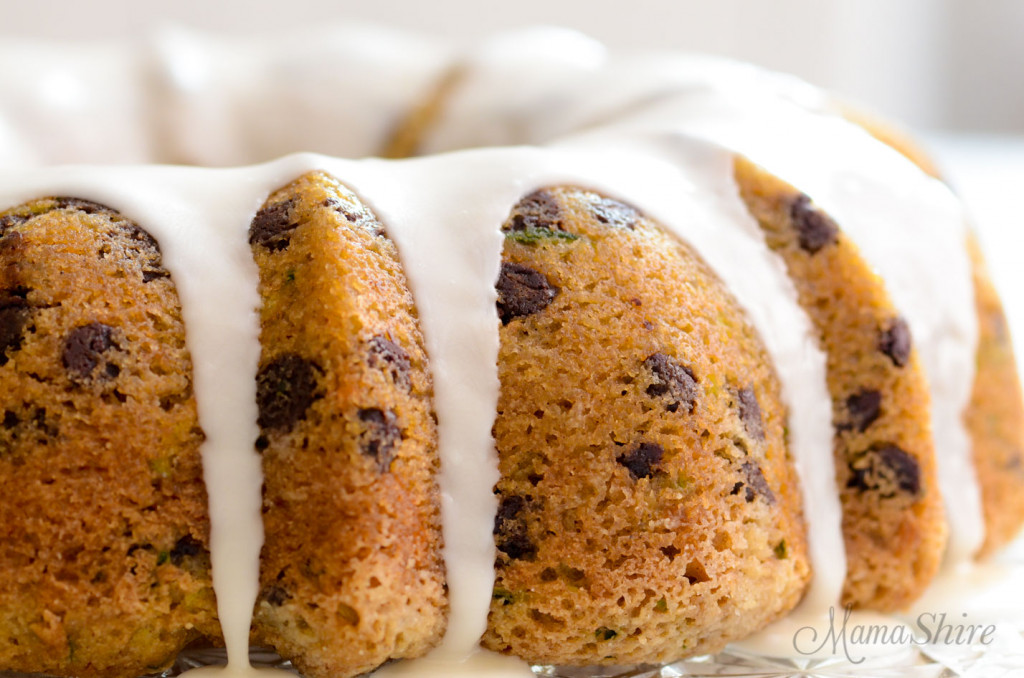 A bundt cake made with zucchini and chocolate chips. Also gluten-free and sugar-free.