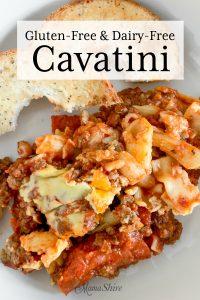 Gluten-free cavatini with gluten-free everything bagel.