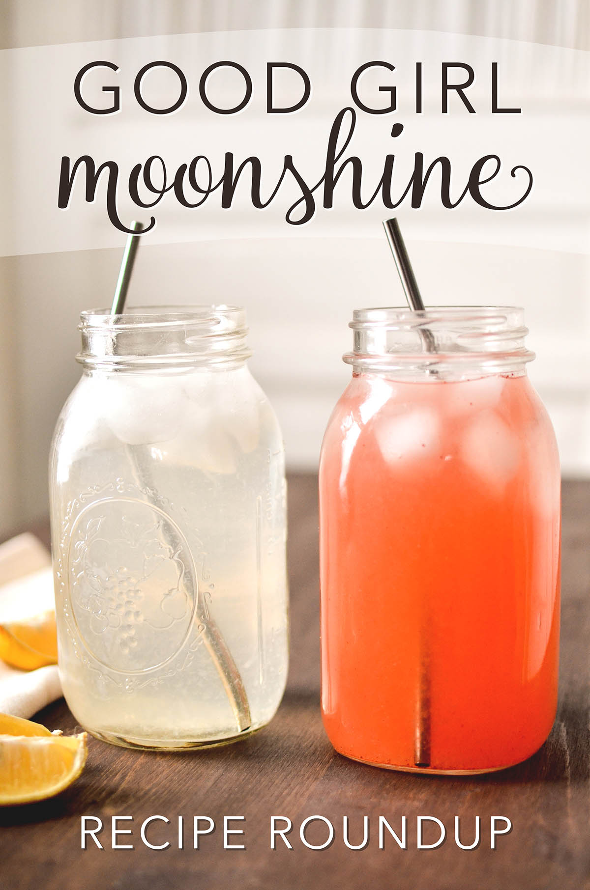 Good Girl Moonshine with two jars one a lemonade and another a strawberry lemonade!