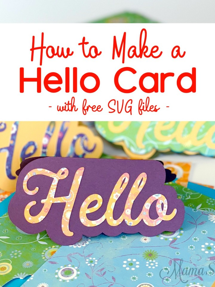 Handmade Hello Card with scrapbooking paper and cardstock.