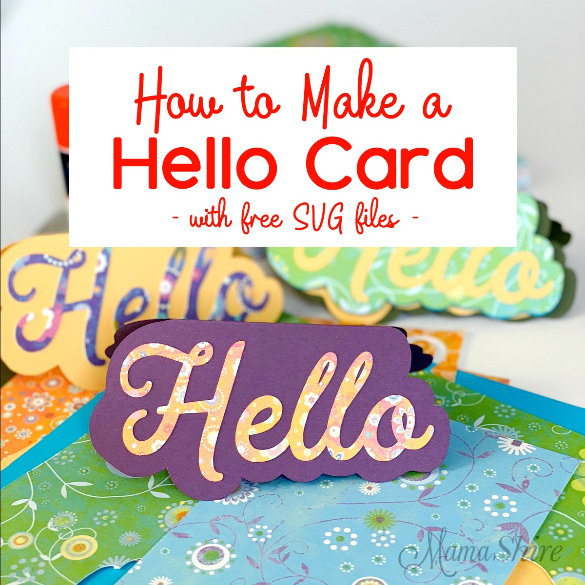 Handmade Hello shaped card with scrapbooking paper and cardstock.