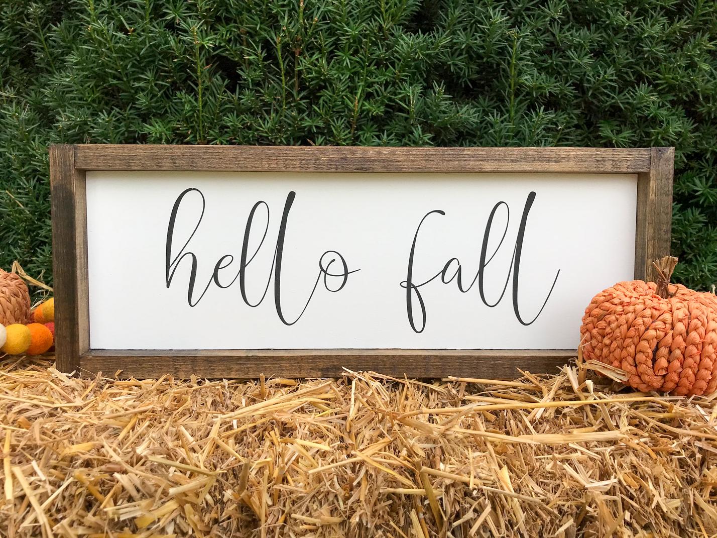 Hello Fall Farmhouse Fall sign for your home decor.
