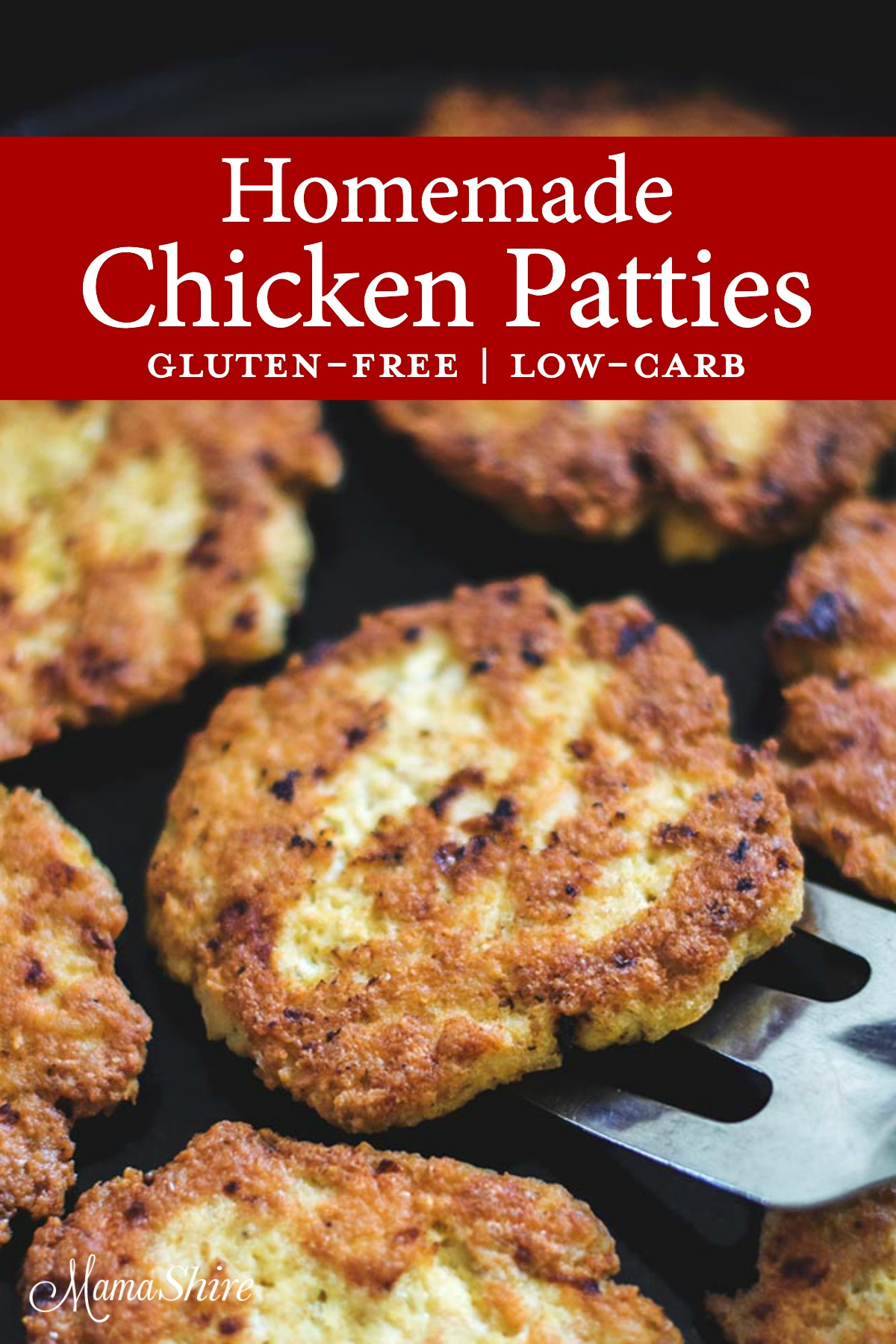 Chicken patties fried in an iron skillet using a homemade chicken patties recipe.