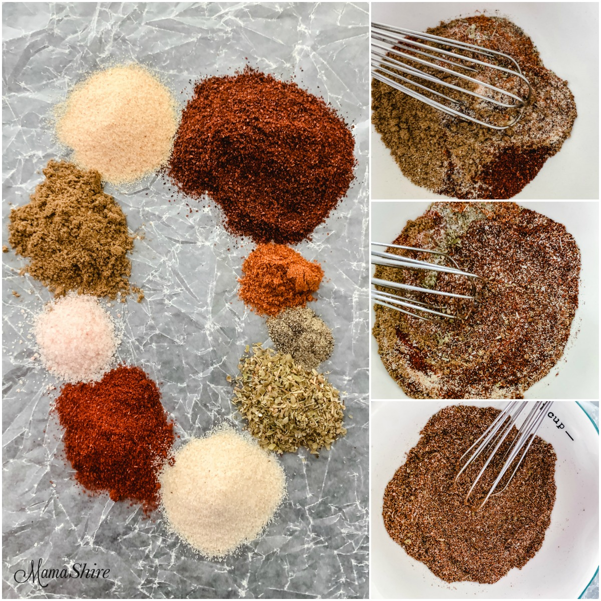 Homemade Taco Seasoning made with a variety of spices. Each spice shown and then mixed in a bowl.