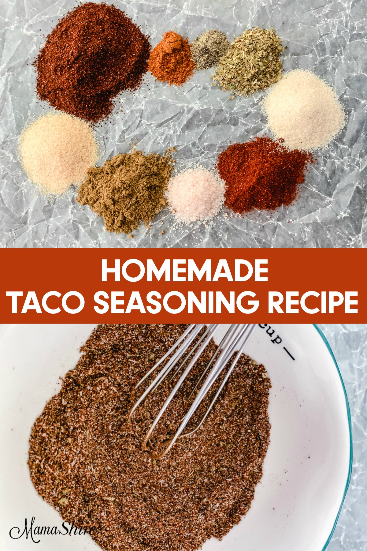 Ingredients for taco seasoning recipe.