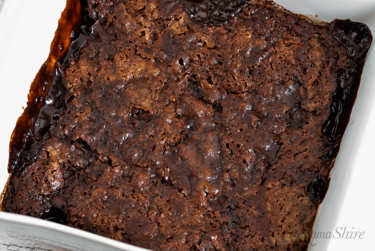 Baked gluten-free chocolate pudding cake.