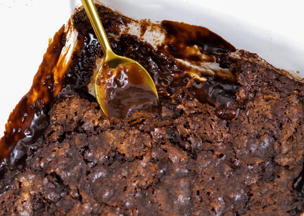 Baked chocolate cake with hot fudge pudding.