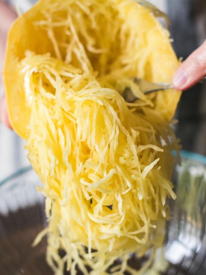 Spaghetti squash strands.