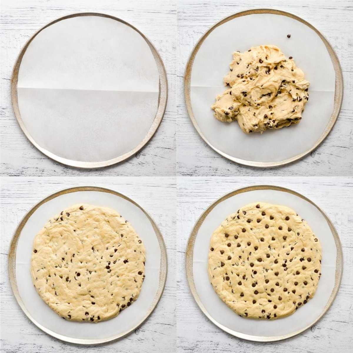 Steps to spread out cookie dough for a giant cookie cake on a pizza pan.