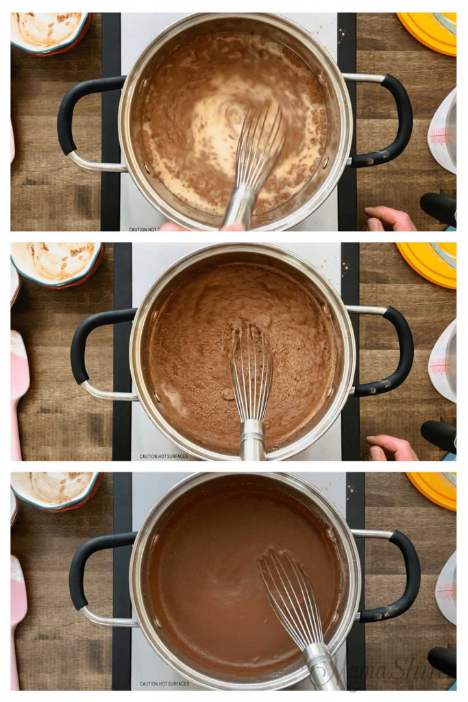 Three pictures showing whisking steps for making chocolate pudding.