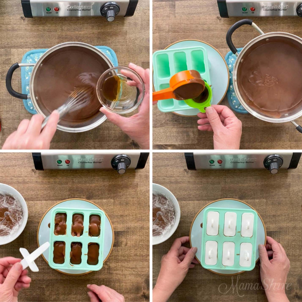 Four pictures showing steps of how to make fudgesicles.