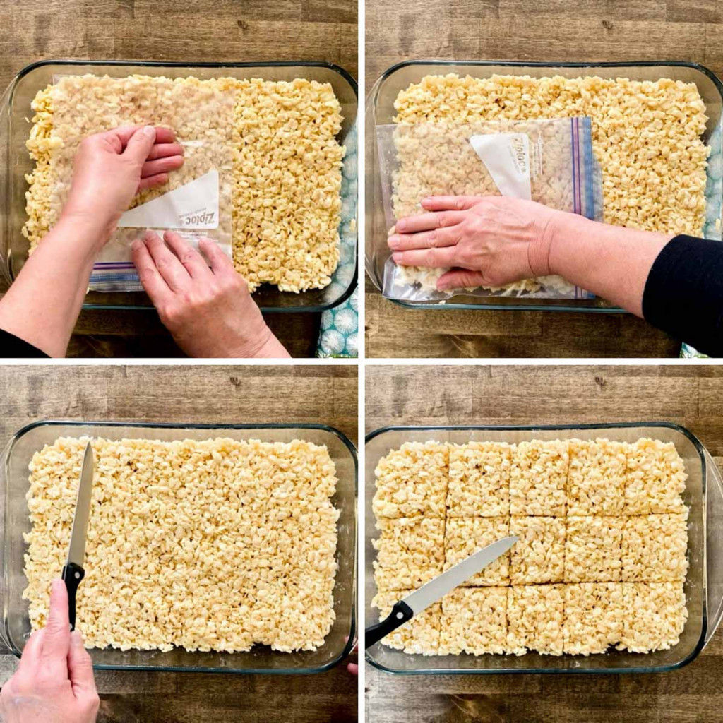 Pressing the warm rice krispies into the casserole dish with a plastic bag.