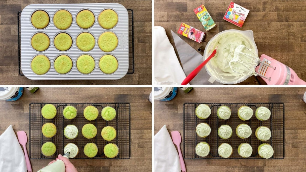 Four pictures showing baked cupcakes and how to put frosting on them.