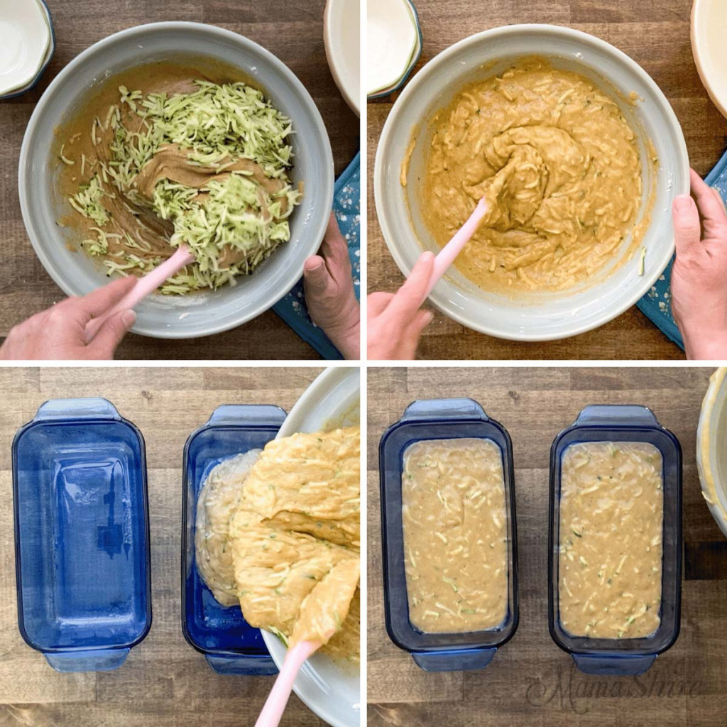 Steps on mixing zucchini into a quick bread and baking them.