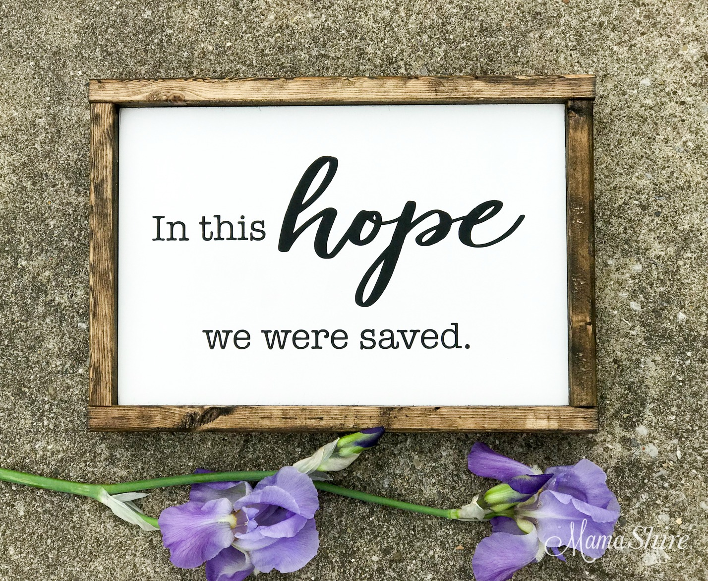 In this hope we were saved. Wood sign made with a vinyl stencil.
