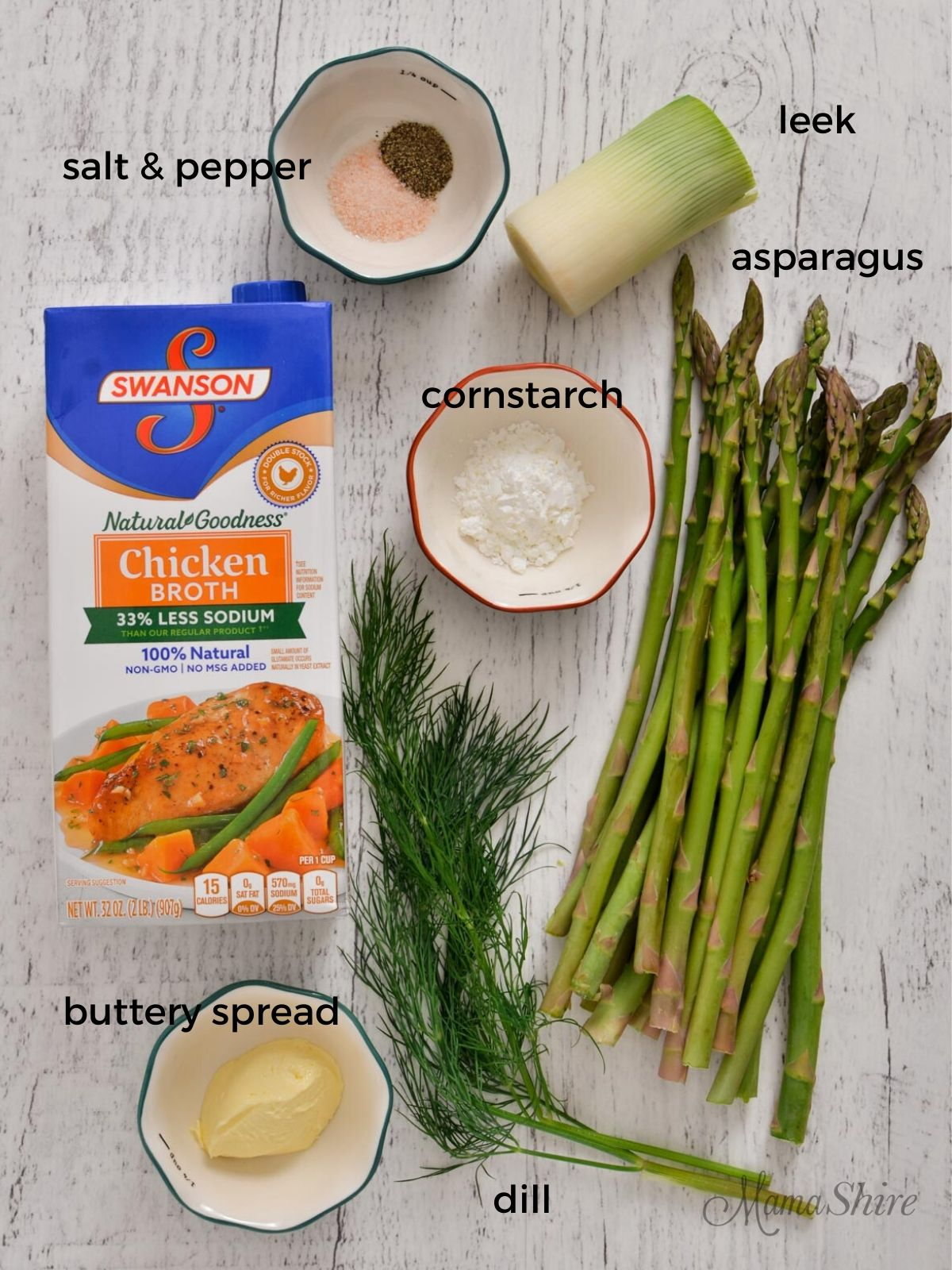 Ingredients for Asparagus Leek Soup include asparagus, chicken broth, one leek, buttery spread, cornstarch, salt, pepper, and dill.