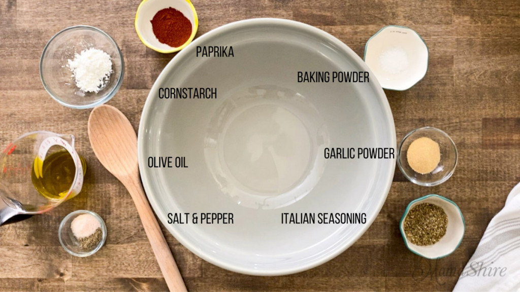 Ingredients to make the crispiest baked chicken thighs and legs.