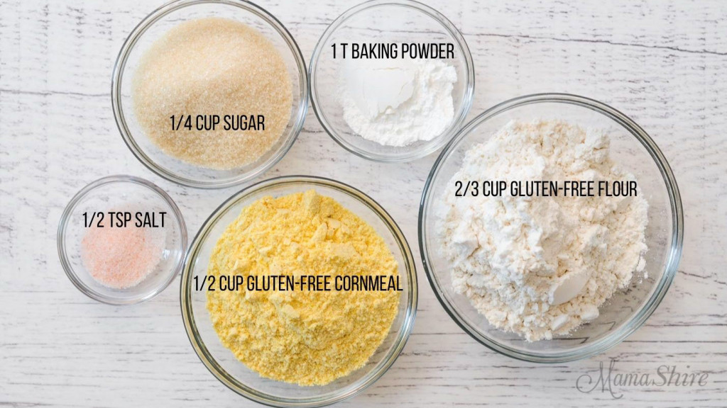 The dry ingredients for a gluten-free corn muffins.