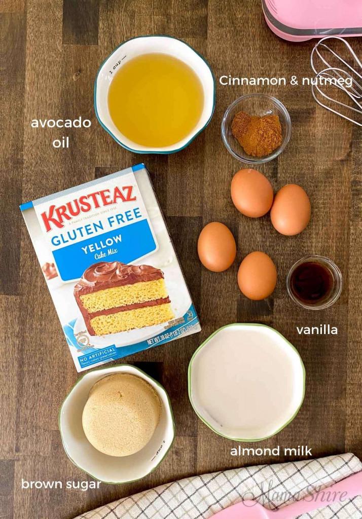 Ingredients to make a gluten-free and dairy-free honey bun cake.