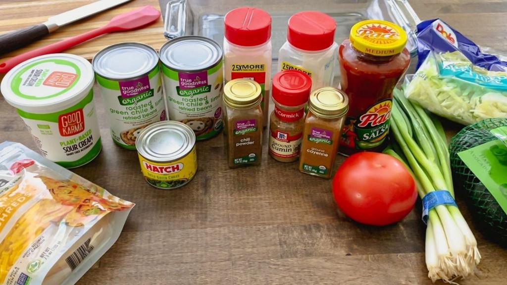 Ingredients for layered bean dip
