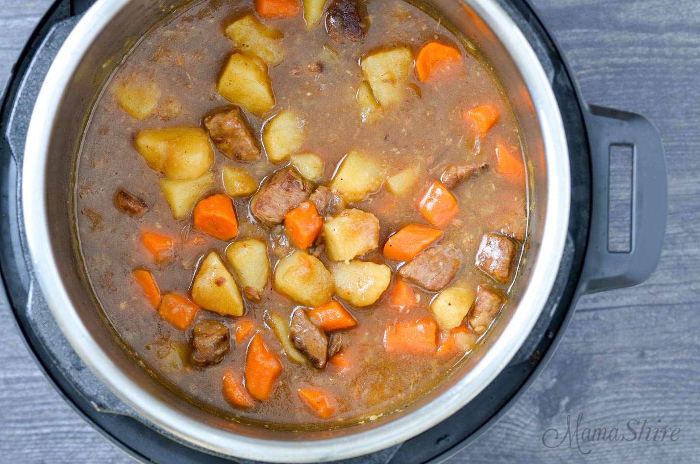 Traditional beef stew made in an Instant Pot