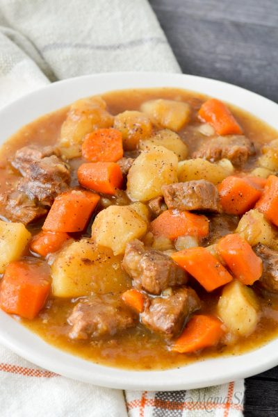 A plate of traditional beef stew made in an Instant Pot and gluten-free.