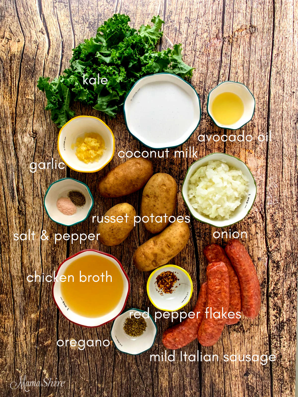 Ingredients for zuppa toscana.