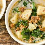 A bowl of dairy-free zuppa toscana