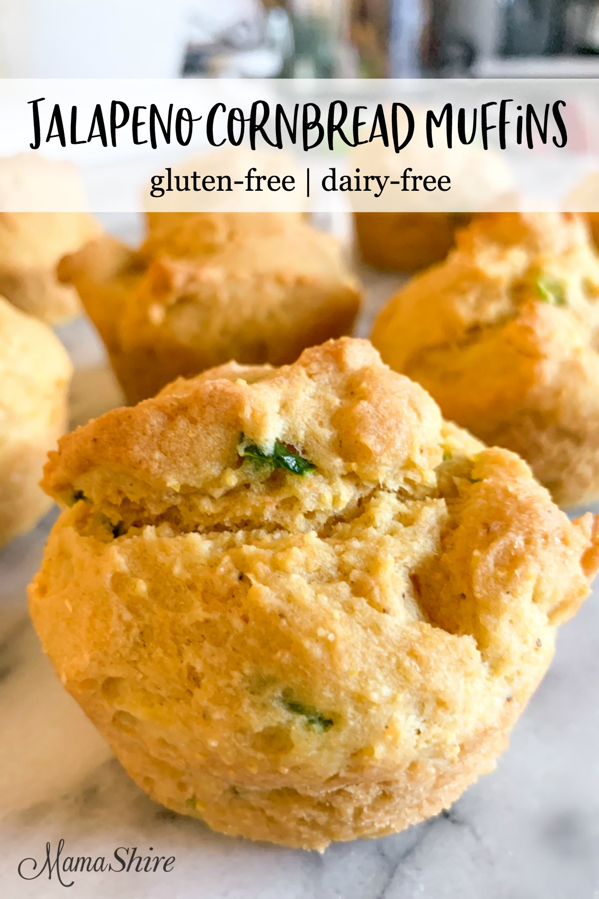 Jalapeno cornbread muffins made gluten-free and dairy-free.