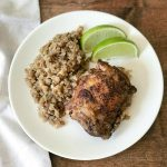 "Jamaican Jerk Chicken & ""Rice"" served with lime wedges!"